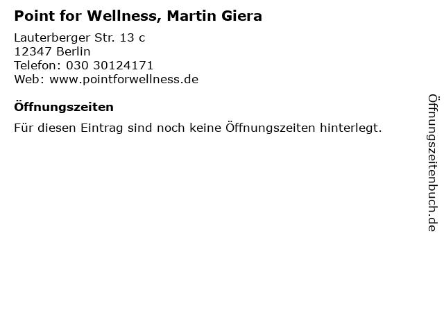Point for Wellness, Martin Giera in Berlin: Adresse und Öffnungszeiten