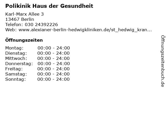Polikinik Haus der Gesundheit in Berlin: Adresse und Öffnungszeiten