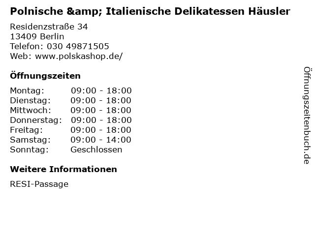 Polnische & Italienische Delikatessen Häusler in Berlin: Adresse und Öffnungszeiten