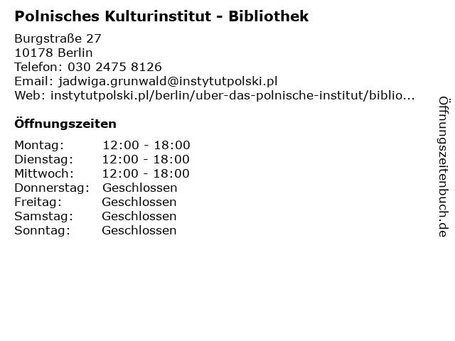 Polnisches Kulturinstitut - Bibliothek in Berlin: Adresse und Öffnungszeiten