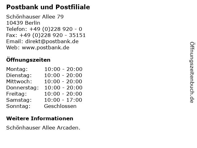 Postbank und Postfiliale in Berlin: Adresse und Öffnungszeiten