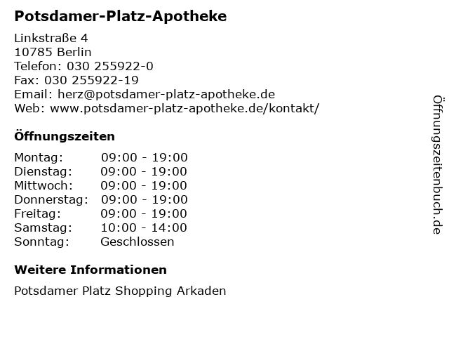 Potsdamer-Platz-Apotheke in Berlin: Adresse und Öffnungszeiten