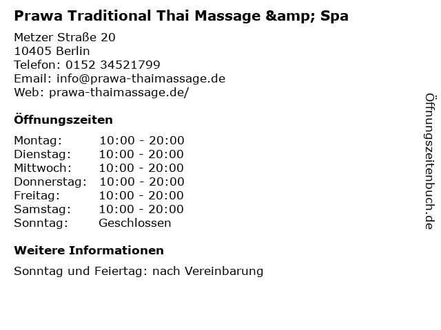 Prawa Traditional Thai Massage & Spa in Berlin: Adresse und Öffnungszeiten