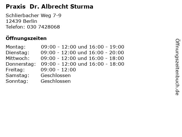 Praxis  Dr. Albrecht Sturma in Berlin: Adresse und Öffnungszeiten