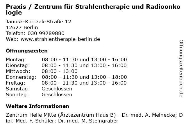 Praxis / Zentrum für Strahlentherapie und Radioonkologie in Berlin: Adresse und Öffnungszeiten