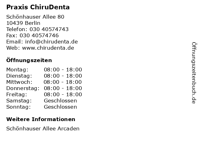 Praxis ChiruDenta in Berlin: Adresse und Öffnungszeiten