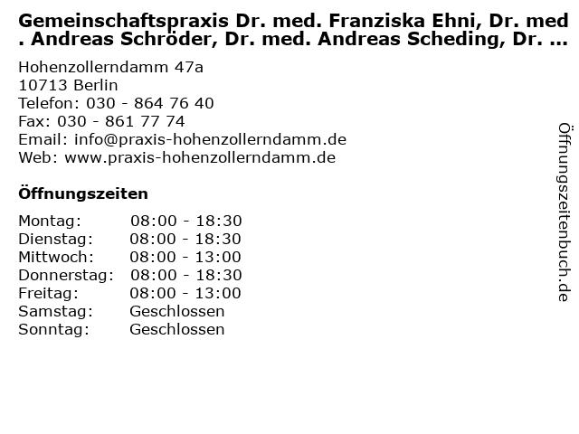 Praxis für Allgemeinmedizin Dr Dietmar Köhler in Berlin: Adresse und Öffnungszeiten