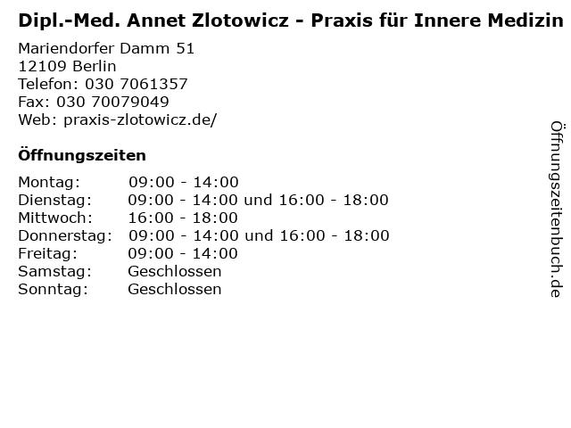 Praxis für Innere Medizin Dr. Annet Zlotowicz in Berlin: Adresse und Öffnungszeiten