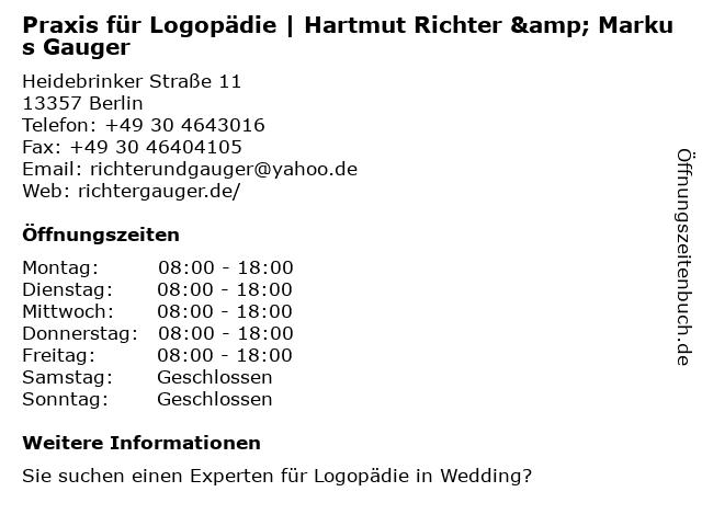 Praxis für Logopädie | Hartmut Richter & Markus Gauger in Berlin: Adresse und Öffnungszeiten