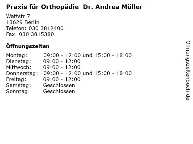 Praxis für Orthopädie  Dr. Andrea Müller in Berlin: Adresse und Öffnungszeiten