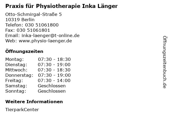 Praxis für Physiotherapie Inka Länger in Berlin: Adresse und Öffnungszeiten