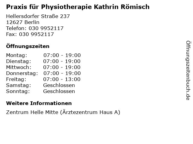 Praxis für Physiotherapie Kathrin Römisch in Berlin: Adresse und Öffnungszeiten
