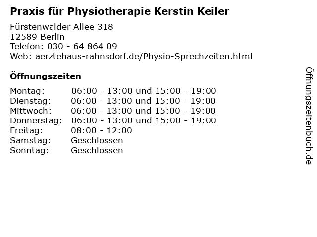 Praxis für Physiotherapie Kerstin Keiler in Berlin: Adresse und Öffnungszeiten