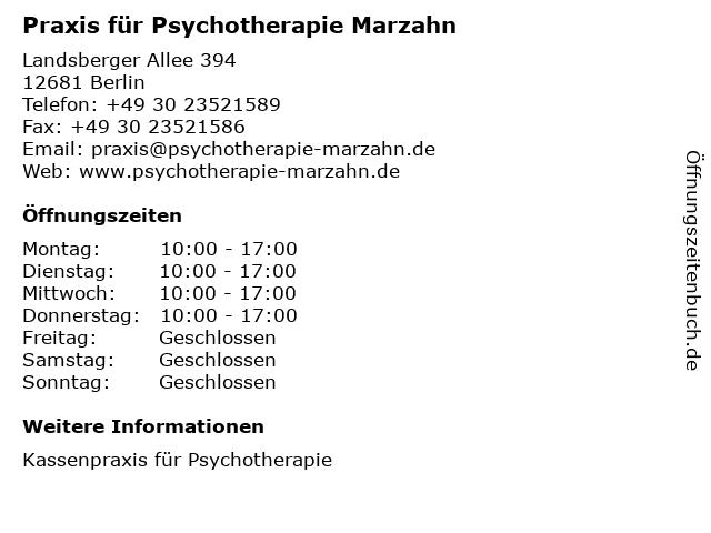 Praxis für Psychotherapie Marzahn in Berlin: Adresse und Öffnungszeiten