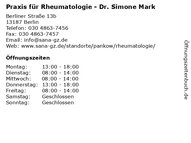 Praxis für Rheumatologie - Dr. Simone Mark in Berlin: Adresse und Öffnungszeiten