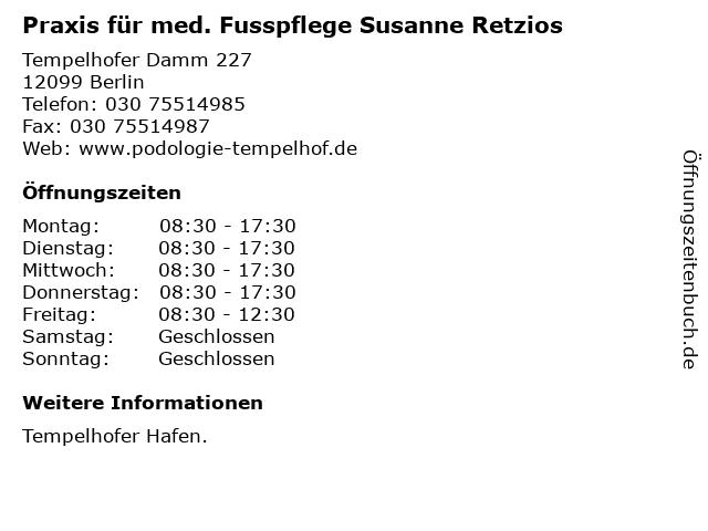 Praxis für med. Fusspflege Susanne Retzios in Berlin: Adresse und Öffnungszeiten