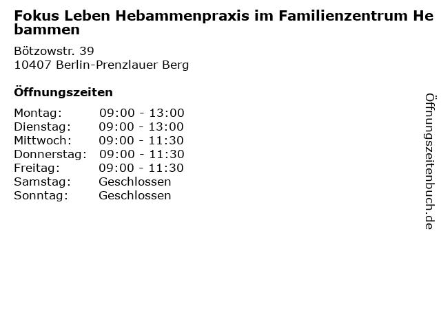 Fokus Leben Hebammenpraxis im Familienzentrum Hebammen in Berlin-Prenzlauer Berg: Adresse und Öffnungszeiten