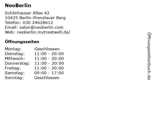 ᐅ öffnungszeiten Neoberlin Schönhauser Allee 42 In Berlin