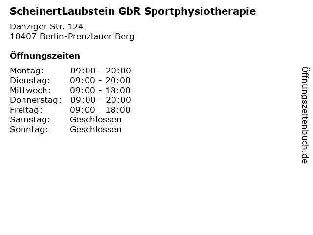 ScheinertLaubstein GbR Sportphysiotherapie in Berlin-Prenzlauer Berg: Adresse und Öffnungszeiten