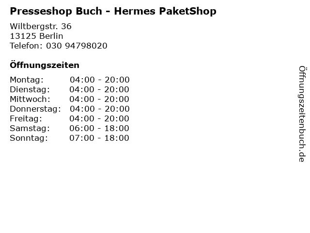 Presseshop Buch - Hermes PaketShop in Berlin: Adresse und Öffnungszeiten