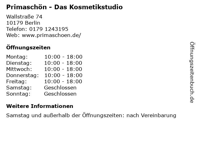 Primaschön - Das Kosmetikstudio in Berlin: Adresse und Öffnungszeiten