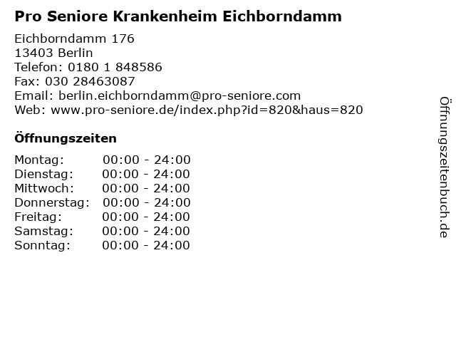 Pro Seniore Krankenheim Eichborndamm in Berlin: Adresse und Öffnungszeiten