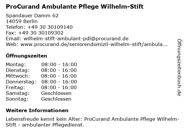 ProCurand Ambulante Pflege Wilhelm-Stift in Berlin: Adresse und Öffnungszeiten