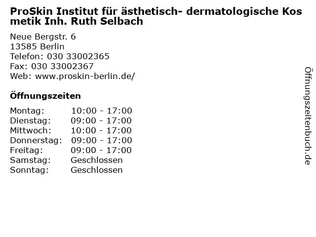 ProSkin Institut für ästhetisch - dermatologische Kosmetik in Berlin: Adresse und Öffnungszeiten