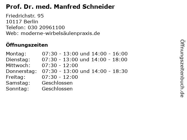 Prof. Dr. med. Manfred Schneider in Berlin: Adresse und Öffnungszeiten