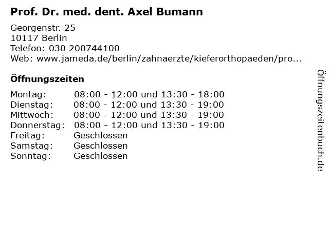 Prof. Dr. med. dent. Axel Bumann in Berlin: Adresse und Öffnungszeiten