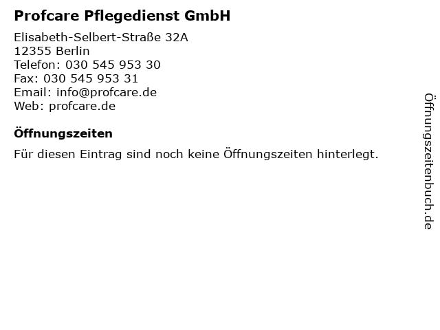 Profcare Pflegedienst GmbH in Berlin: Adresse und Öffnungszeiten