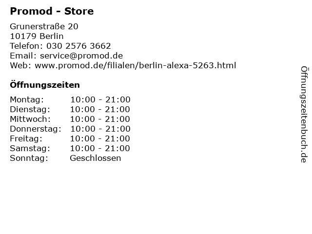 Promod - Store in Berlin: Adresse und Öffnungszeiten