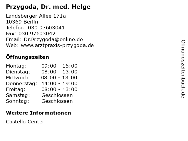 Przygoda, Dr. med. Helge in Berlin: Adresse und Öffnungszeiten