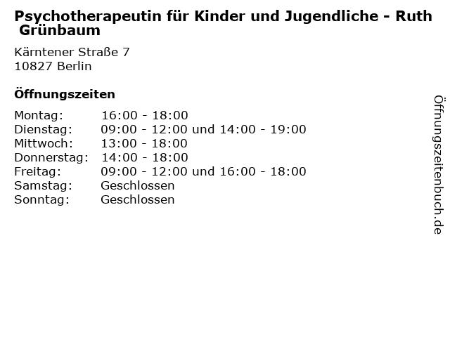 Psychotherapeutin für Kinder und Jugendliche - Ruth Grünbaum in Berlin: Adresse und Öffnungszeiten
