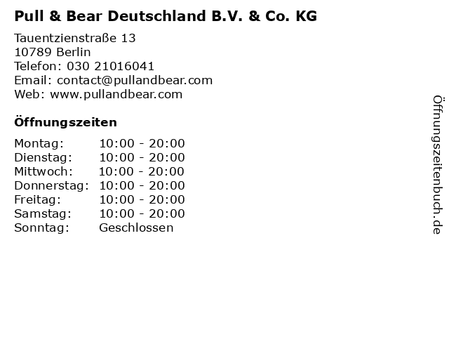 Pull & Bear Deutschland B.V. & Co. KG in Berlin: Adresse und Öffnungszeiten