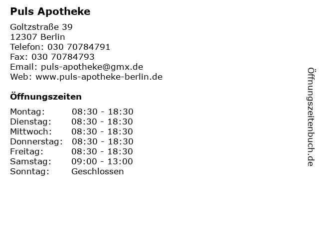 Puls-Apotheke in Berlin: Adresse und Öffnungszeiten