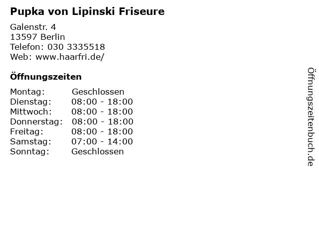 Pupka von Lipinski Friseure in Berlin: Adresse und Öffnungszeiten