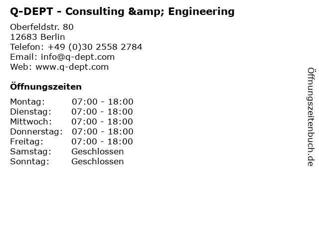 Q-DEPT - Consulting & Engineering in Berlin: Adresse und Öffnungszeiten