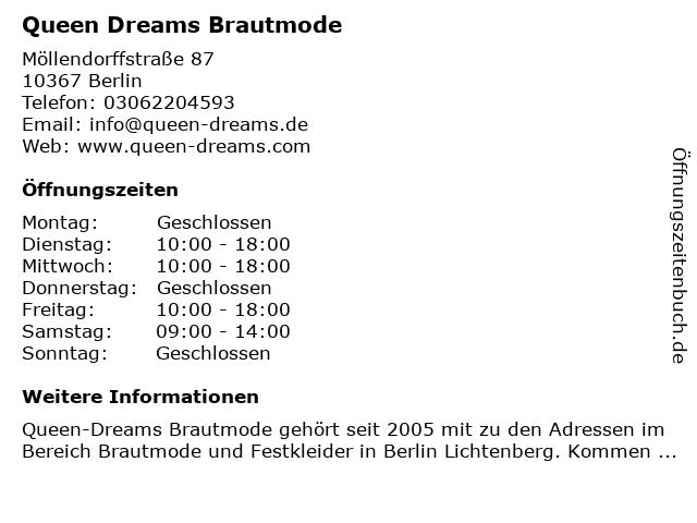 ᐅ Offnungszeiten Queen Dreams Brautmode Mollendorffstrasse 87 In