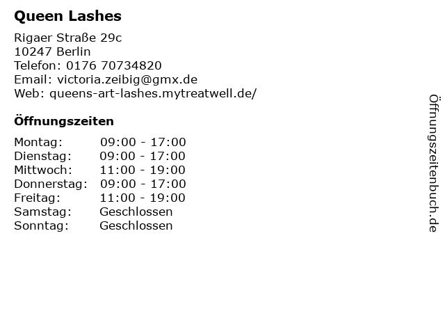 Queen Lashes in Berlin: Adresse und Öffnungszeiten