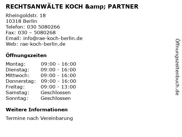 RECHTSANWÄLTE KOCH & PARTNER in Berlin: Adresse und Öffnungszeiten