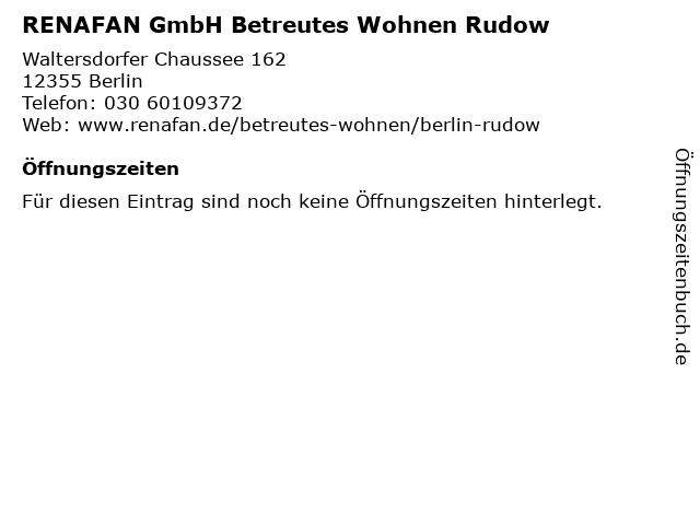 RENAFAN GmbH Betreutes Wohnen Rudow in Berlin: Adresse und Öffnungszeiten