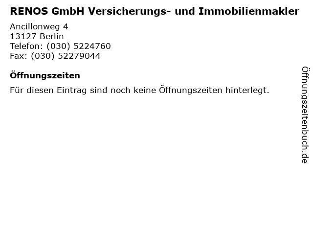 RENOS GmbH Versicherungs- und Immobilienmakler in Berlin: Adresse und Öffnungszeiten