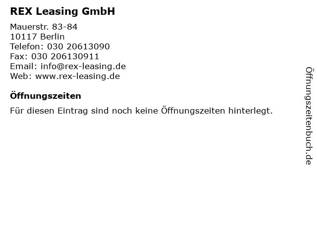 REX Leasing GmbH in Berlin: Adresse und Öffnungszeiten