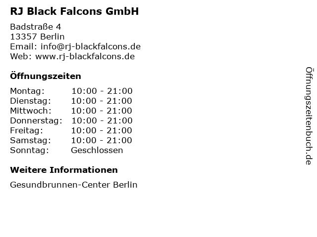 RJ Black Falcons GmbH in Berlin: Adresse und Öffnungszeiten