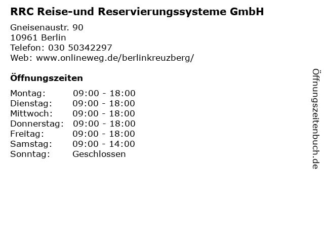 RRC Reise-und Reservierungssysteme GmbH in Berlin: Adresse und Öffnungszeiten