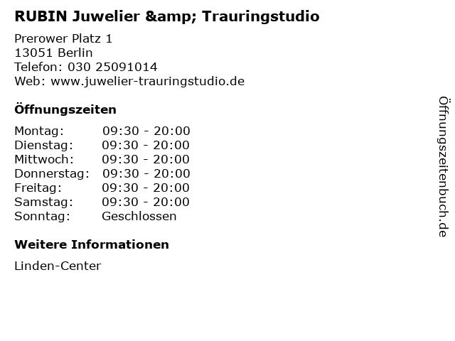 RUBIN Juwelier & Trauringstudio in Berlin: Adresse und Öffnungszeiten