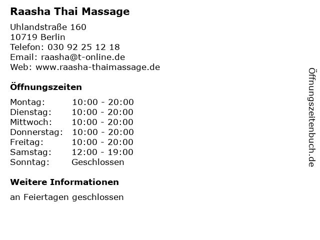 Raasha Thai Massage in Berlin: Adresse und Öffnungszeiten