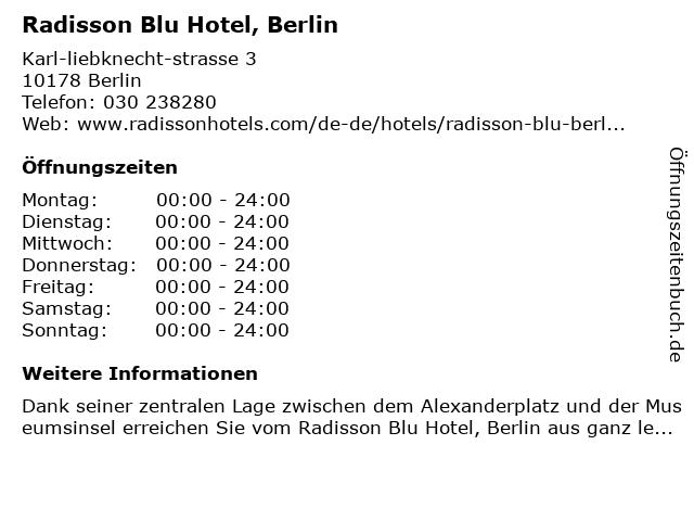 Radisson Blu Hotel in Berlin: Adresse und Öffnungszeiten