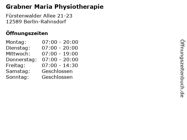 Grabner Maria Physiotherapie in Berlin-Rahnsdorf: Adresse und Öffnungszeiten